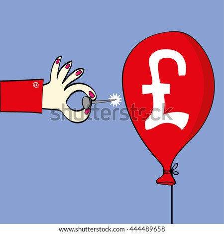 Female hand holding a sharp pin ready to burst a red balloon on which there is a British pound symbol as a metaphor for the exchange rate or stock market - stock vector