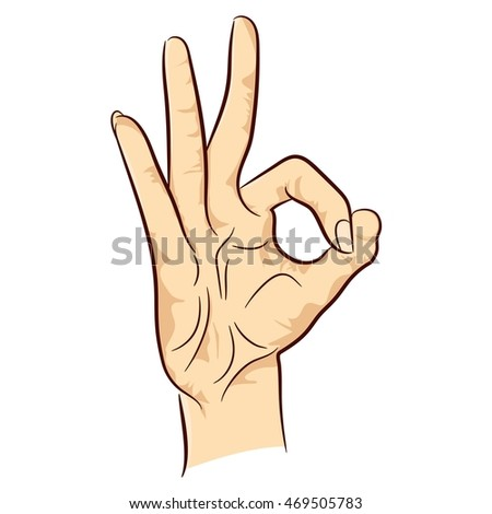 Female Hand Showing Ok Sign Isolated Stock Vector 469505783