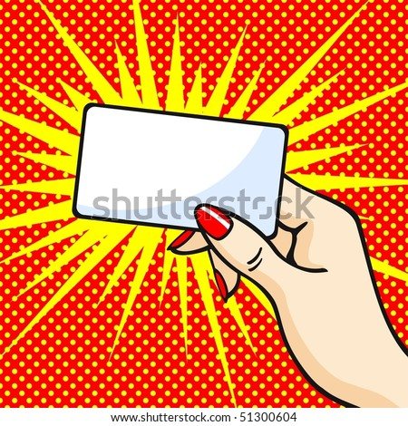 Female hand with red manicure holding a card - stock vector