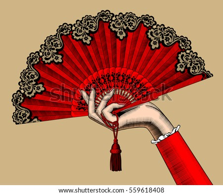 hand fan drawing. female hand with red open fan. vintage color engraving stylized drawing. vector illustration fan drawing w