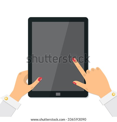 Female hands holding a tablet computer. Finger touching digital tablet screen. Vector illustration. - stock vector