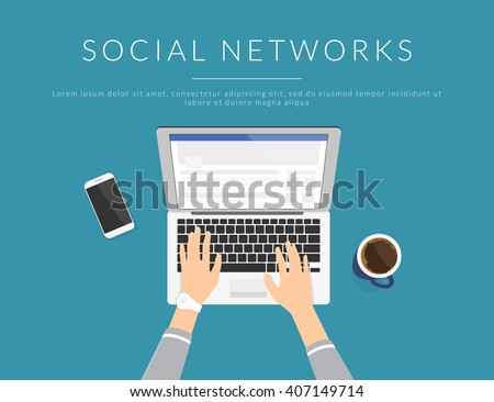 Female hands typing text on the laptop keyboard and using social networks for communication. Top view of people working with computer at the work desk - stock vector