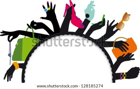 Female hands with accessories and white box with writing discounts - stock vector