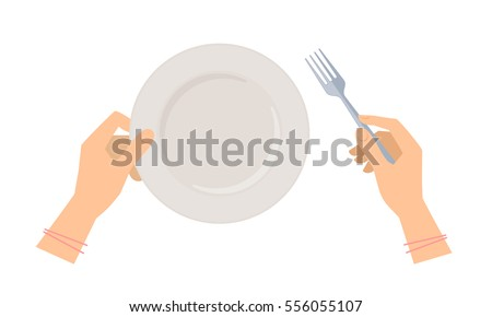 Female hands with steel fork and empty ceramic plate. Flat concept illustration of restaurant and kitchen utensils. Vector elements for web design, social networks and food infographics.