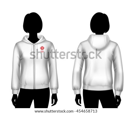 Female hooded sweatshirt white template on woman body front and back silhouettes isolated vector illustration