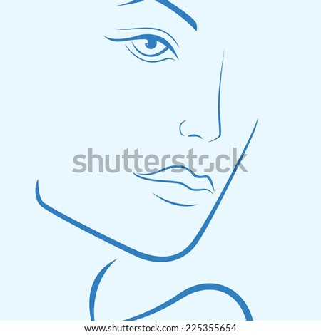 Female laconic heads outline in blue hues, hand drawing vector simple illustration - stock vector