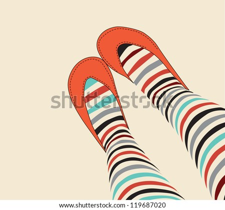 female legs in funny striped stockings and old-fashioned orange sandals - stock vector
