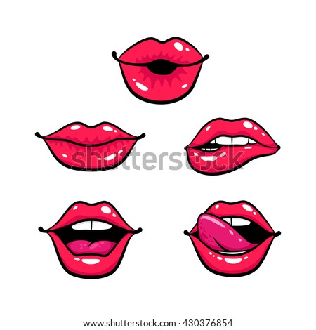 Female lips set. Mouth with a kiss, smile, tongue, teeth. Vector comic illustration in pop art retro style isolated on white background.  - stock vector