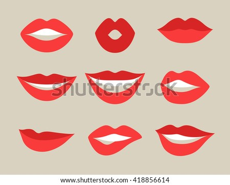 Female lips set. Mouths with red lipstick in variety of expressions. Objects for decoration, design on advertising booklets, banners, flayers.