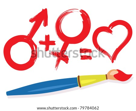 Female, male, heart symbols and paintbrush. Abstract love concept illustration. - stock vector
