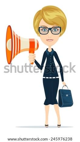 Female messenger negotiator with a loudspeaker horn. Stock Vector illustration - stock vector