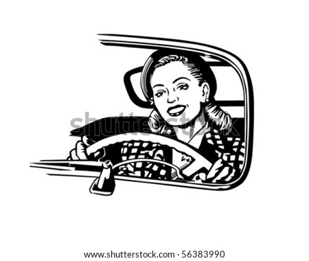 Female Motorist - Retro Clip Art - stock vector