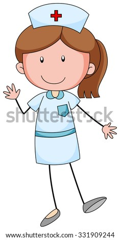 Female nurse with happy face illustration - stock vector