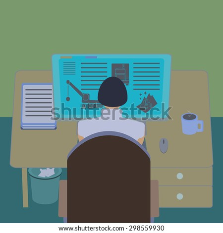 Female office worker at her computer desk. Working room section interior view. IT engineer and web designer workplace. Flat design template vector illustration.  - stock vector