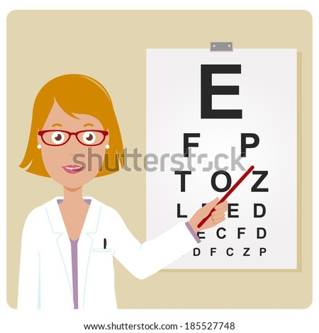 Female ophthalmologist. A female ophthalmologist examining a patient using the eye chart.  - stock vector
