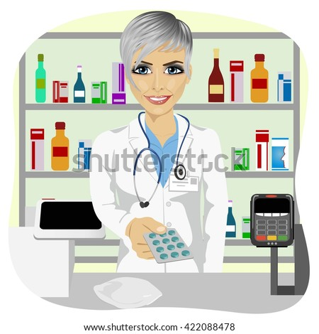female pharmacist giving pills in blister pack standing in a drugstore in front of medications on showcase - stock vector