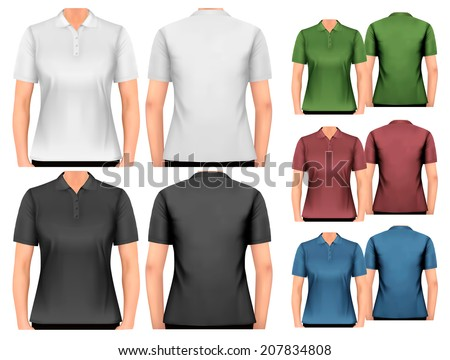 Female polo shirts. Design template. Vector.