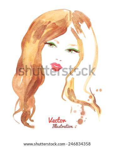 Female portrait. Watercolor fashion illustration. Vector EPS 10. - stock vector