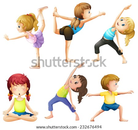 Female practicing poses of yoga - stock vector