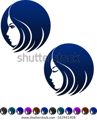 Female profile, symbol of femininity, vector illustration - stock vector