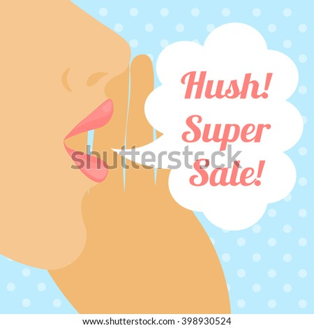 Female profile with speech bubble against a light blue background - stock vector