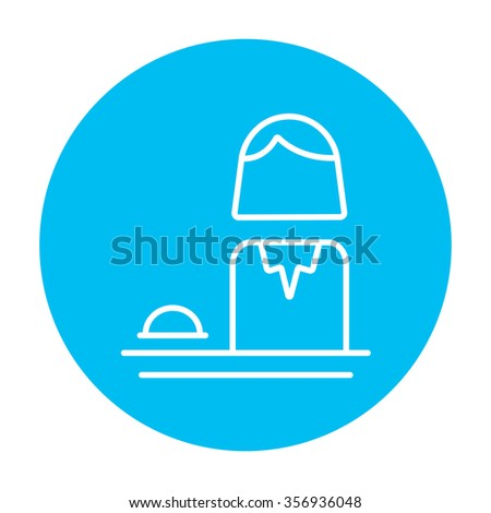 Female receptionist line icon for web, mobile and infographics. Vector white icon on the light blue circle isolated on white background. - stock vector