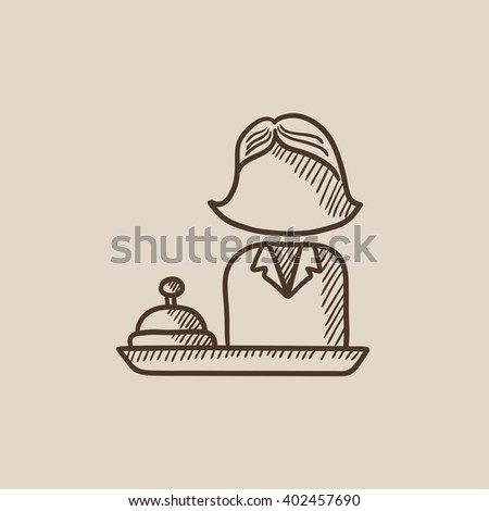 Female receptionist sketch icon. - stock vector