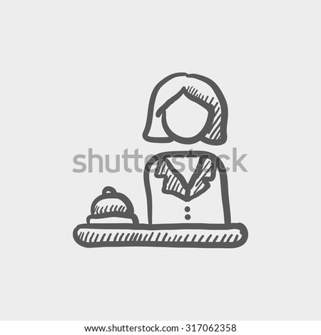 Female receptionist sketch icon for web, mobile and infographics. Hand drawn vector dark grey icon isolated on light grey background. - stock vector