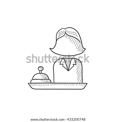 Female receptionist vector sketch icon isolated on background. Hand drawn Female receptionist icon. Female receptionist sketch icon for infographic, website or app. - stock vector