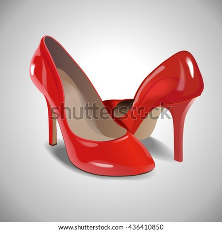 Female red leather high-heeled shoes. Vector photorealistic illustration of isolated on white background.