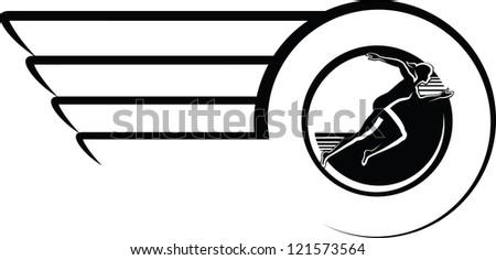 Female Runner in Winged Circle Design - stock vector