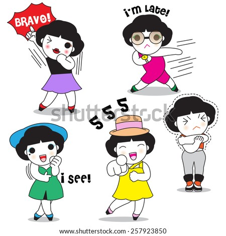 Female's Expressions Characters illustration set - stock vector