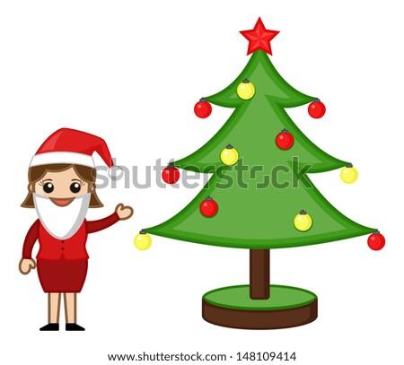 Female Santa Presenting Christmas Tree - Cartoon Business Characters - stock vector