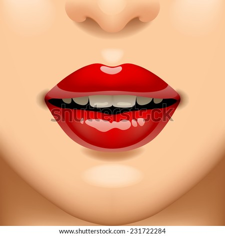 Female sexy red lips on the face. Vivid open mouth of woman. Vector illustration - stock vector