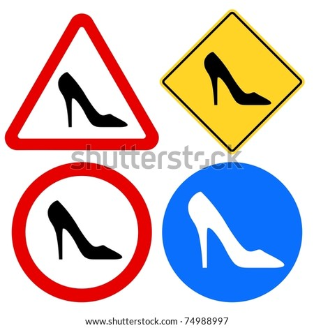 Female Shoe Signs - stock vector