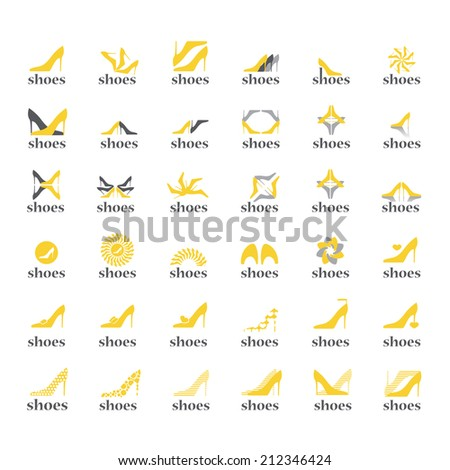 Female Shoes Icons Set - Isolated On White Background - Vector Illustration, Graphic Design Editable For Your Design     - stock vector