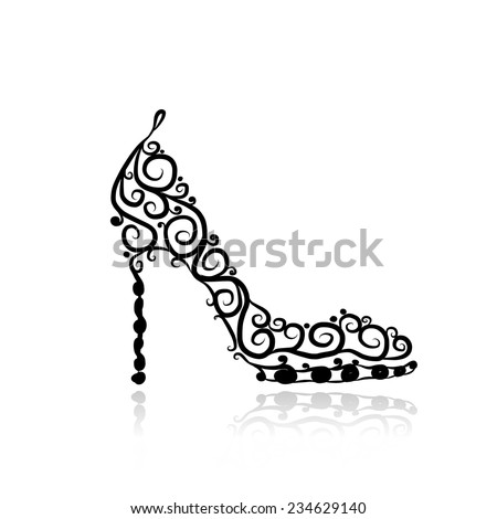 Female shoes, sketch for your design - stock vector