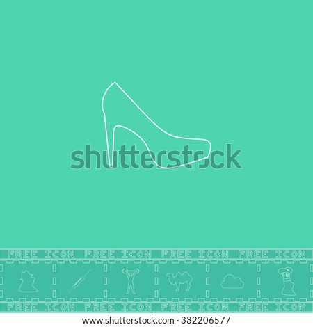 Female shoes. White outline flat symbol and bonus icon. Simple vector illustration pictogram on green background