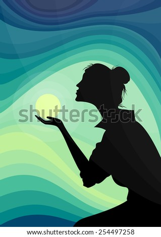 Female silhouette in front of vivid sunset - stock vector