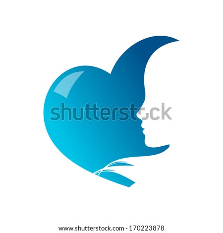 female silhouette on heart-shaped background - stock vector