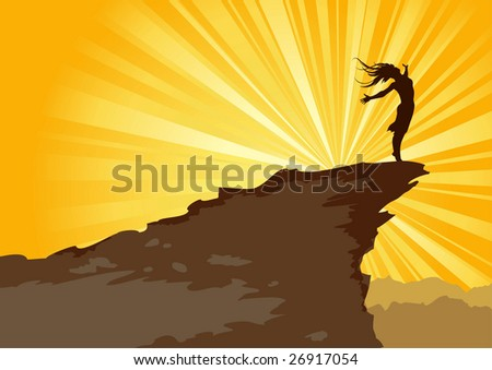 Female silhouette on the mountain - stock vector