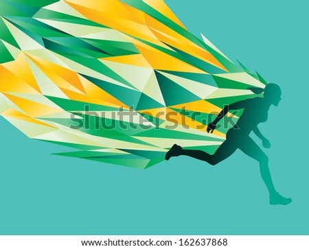 Female silhouette running  - abstract flames / energy - stock vector
