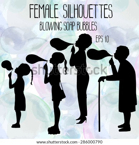 Female silhouettes in four age groups blowing soap bubbles.  Two sisters, mother and grandmother standing in profile on watercolor background. Vector design elements - stock vector