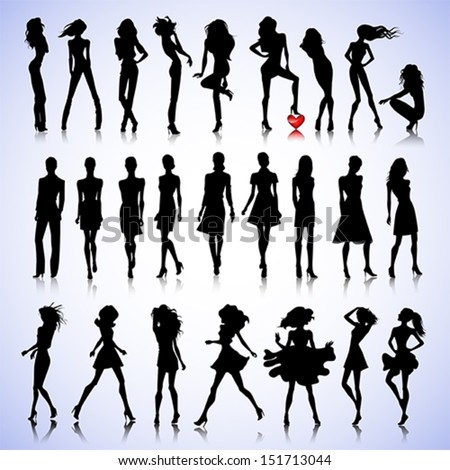 Female silhouettes on glamour background - stock vector