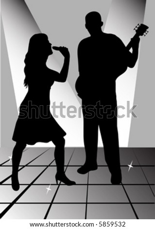 female singer and man playing guitar - stock vector