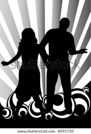 female singer with man on black-white rings background - stock vector