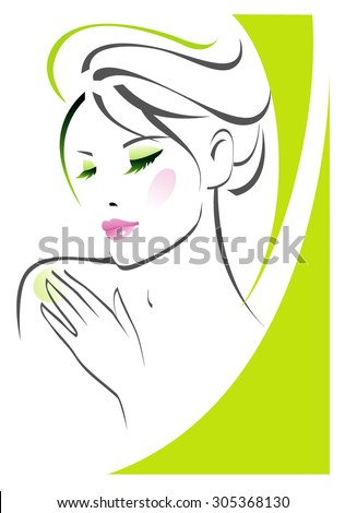 Female skin care icon - stock vector