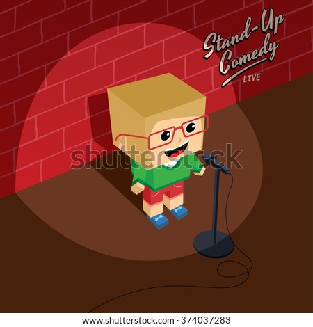 female stand up comedy - isometric block cartoon