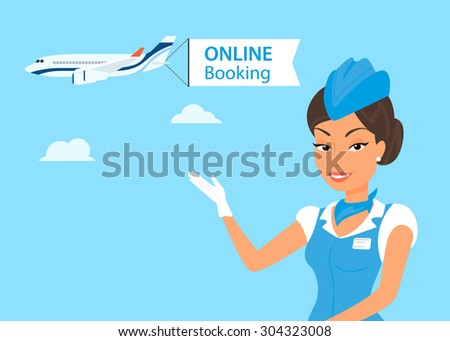 Female stewardess wearing blue suit and airplane behind her - stock vector