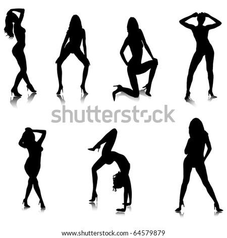 Female Stripper Silhouettes.Vector - stock vector